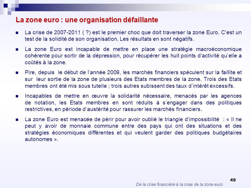 De la crise financière à la crise de la zone euro 49 La zone euro : une organisation défaillante La crise de 2007-2011 ( ?) est le premier choc que do