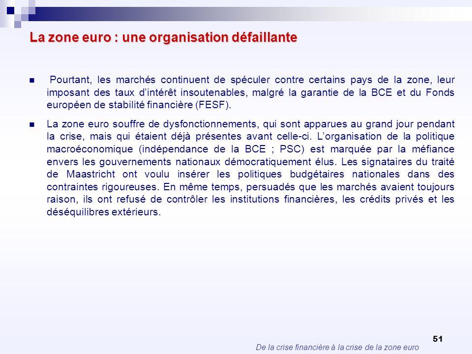 De la crise financière à la crise de la zone euro 51 La zone euro : une organisation défaillante Pourtant, les marchés continuent de spéculer contre c