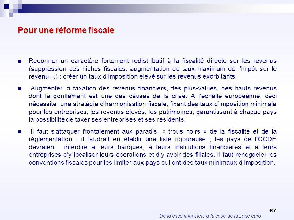 De la crise financière à la crise de la zone euro 67 Pour une réforme fiscale Redonner un caractère fortement redistributif à la fiscalité directe sur