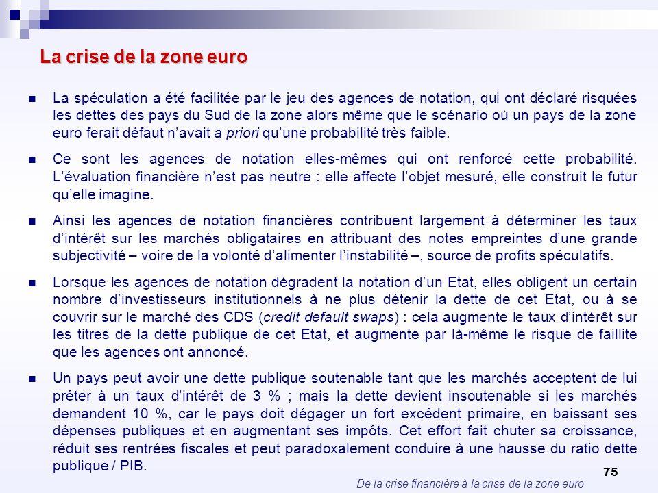 De la crise financière à la crise de la zone euro 75 La crise de la zone euro La spéculation a été facilitée par le jeu des agences de notation, qui o