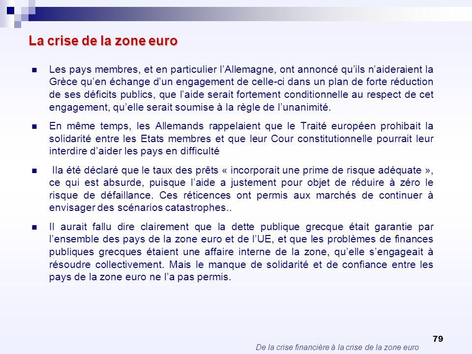 De la crise financière à la crise de la zone euro 79 La crise de la zone euro Les pays membres, et en particulier lAllemagne, ont annoncé quils naider