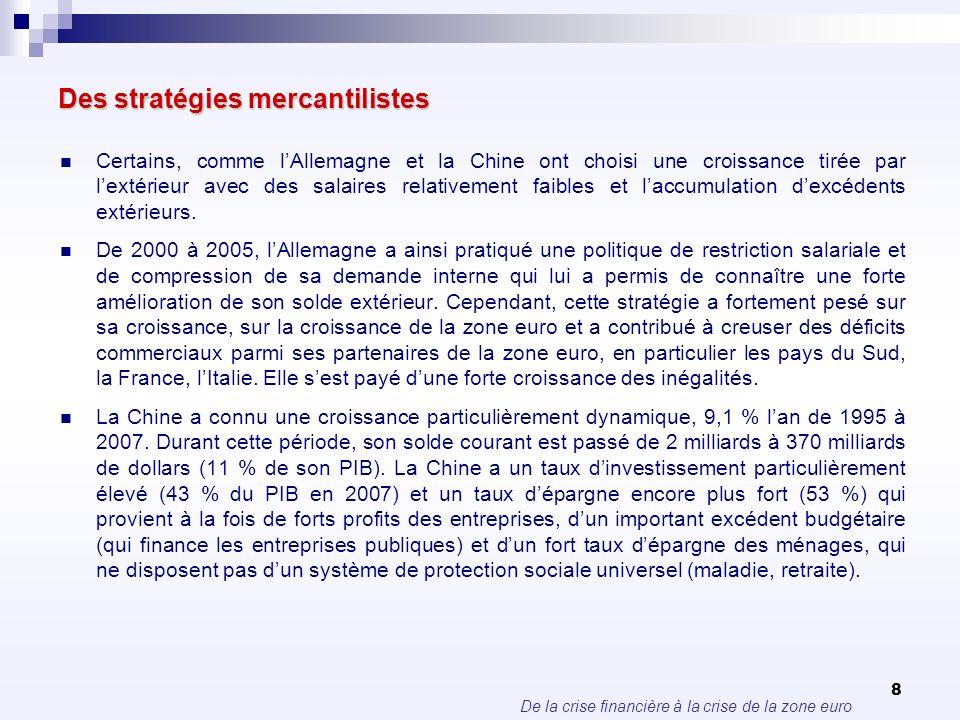 De la crise financière à la crise de la zone euro 8 Des stratégies mercantilistes Certains, comme lAllemagne et la Chine ont choisi une croissance tir