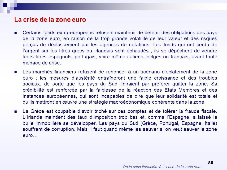 De la crise financière à la crise de la zone euro 85 La crise de la zone euro Certains fonds extra-européens refusent maintenir de détenir des obligat