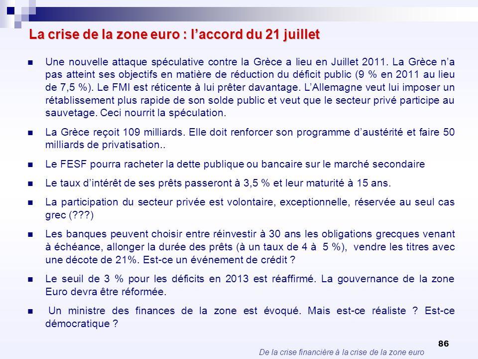 De la crise financière à la crise de la zone euro 86 La crise de la zone euro : laccord du 21 juillet Une nouvelle attaque spéculative contre la Grèce