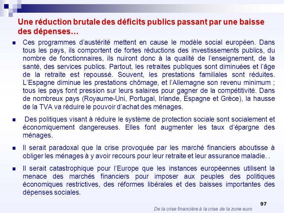 De la crise financière à la crise de la zone euro 97 Une réduction brutale des déficits publics passant par une baisse des dépenses… Ces programmes da