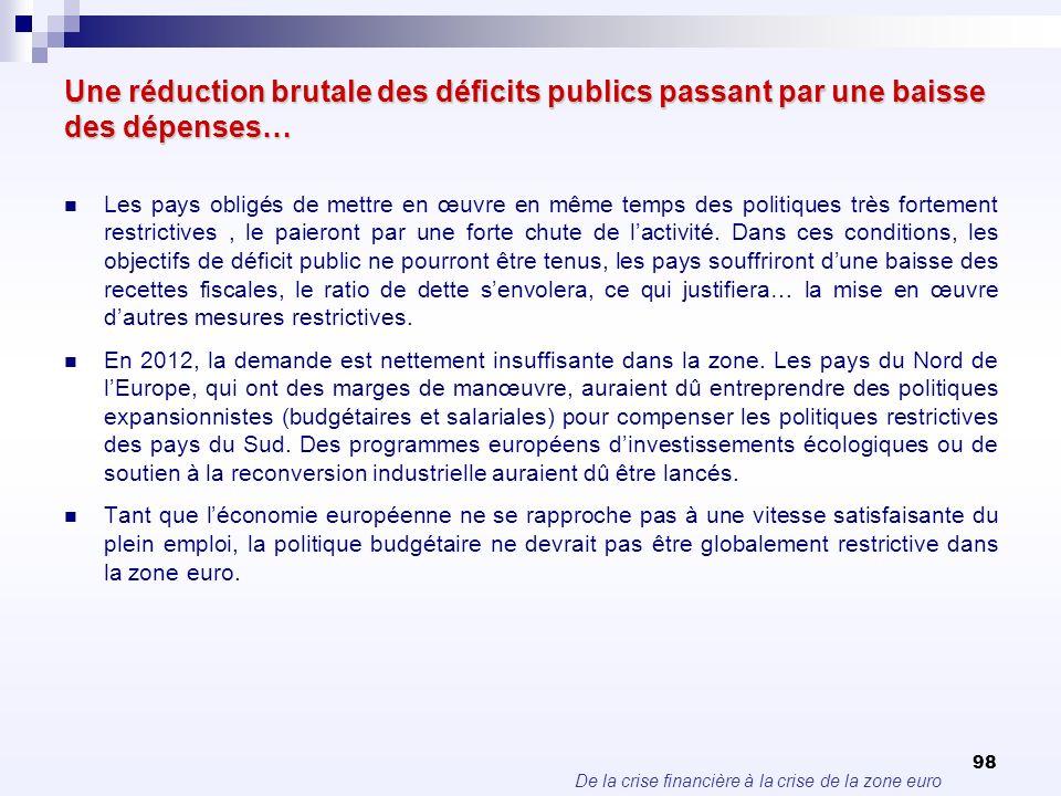 De la crise financière à la crise de la zone euro 98 Une réduction brutale des déficits publics passant par une baisse des dépenses… Les pays obligés