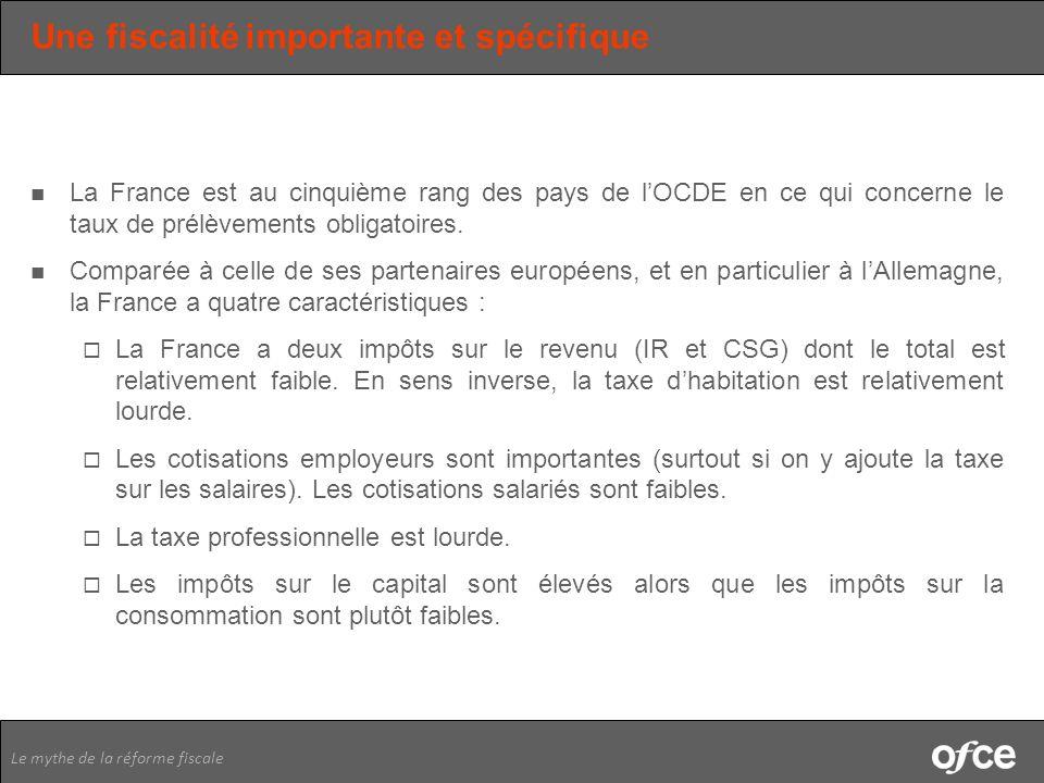 Le mythe de la réforme fiscale Une fiscalité importante et spécifique La France est au cinquième rang des pays de lOCDE en ce qui concerne le taux de