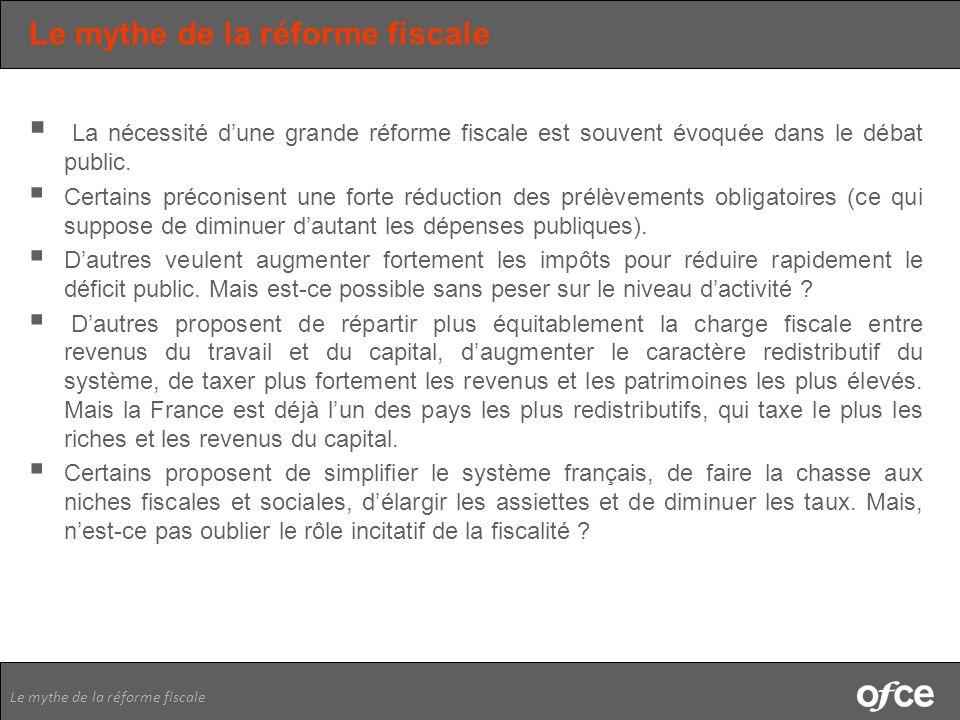 Le mythe de la réforme fiscale La nécessité dune grande réforme fiscale est souvent évoquée dans le débat public. Certains préconisent une forte réduc