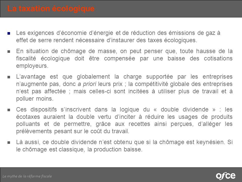 Le mythe de la réforme fiscale La taxation écologique Les exigences déconomie dénergie et de réduction des émissions de gaz à effet de serre rendent n