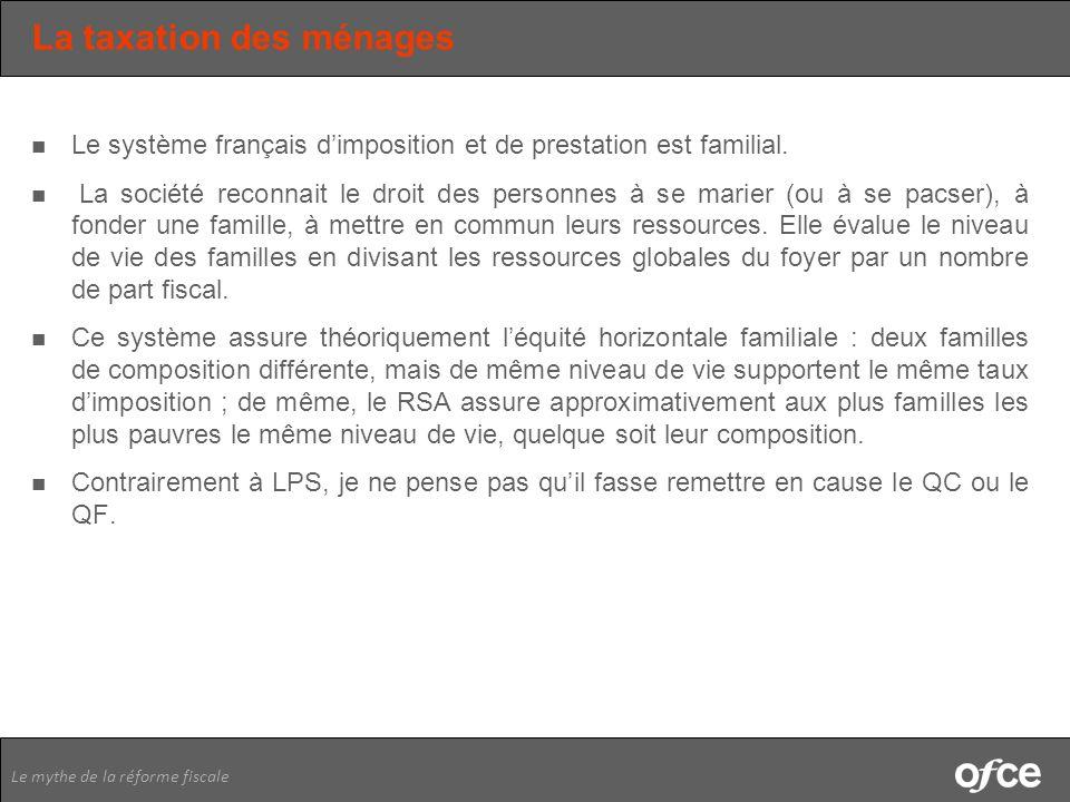 Le mythe de la réforme fiscale La taxation des ménages Le système français dimposition et de prestation est familial. La société reconnait le droit de