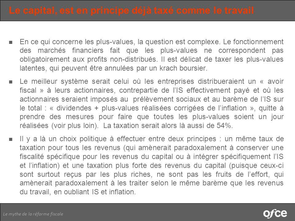 Le mythe de la réforme fiscale Le capital, est en principe déjà taxé comme le travail En ce qui concerne les plus-values, la question est complexe. Le