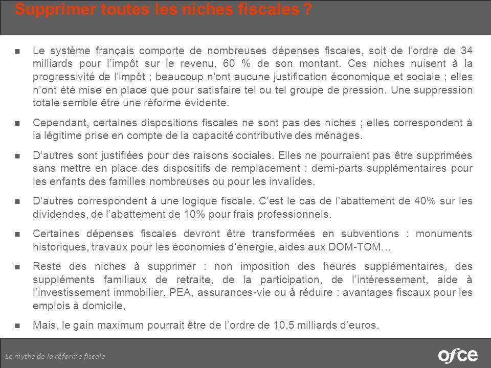 Le mythe de la réforme fiscale Supprimer toutes les niches fiscales ? Le système français comporte de nombreuses dépenses fiscales, soit de lordre de