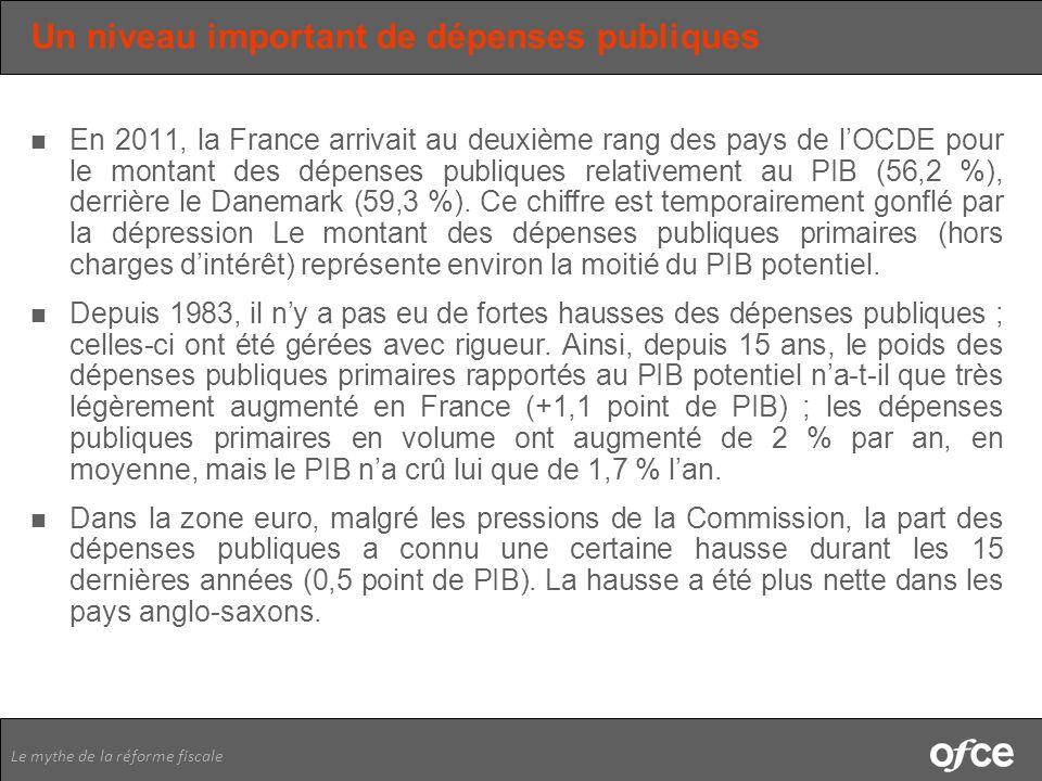 Le mythe de la réforme fiscale Un niveau important de dépenses publiques En 2011, la France arrivait au deuxième rang des pays de lOCDE pour le montan
