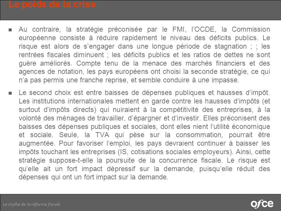 Le mythe de la réforme fiscale Le poids de la crise Au contraire, la stratégie préconisée par le FMI, lOCDE, la Commission européenne consiste à rédui
