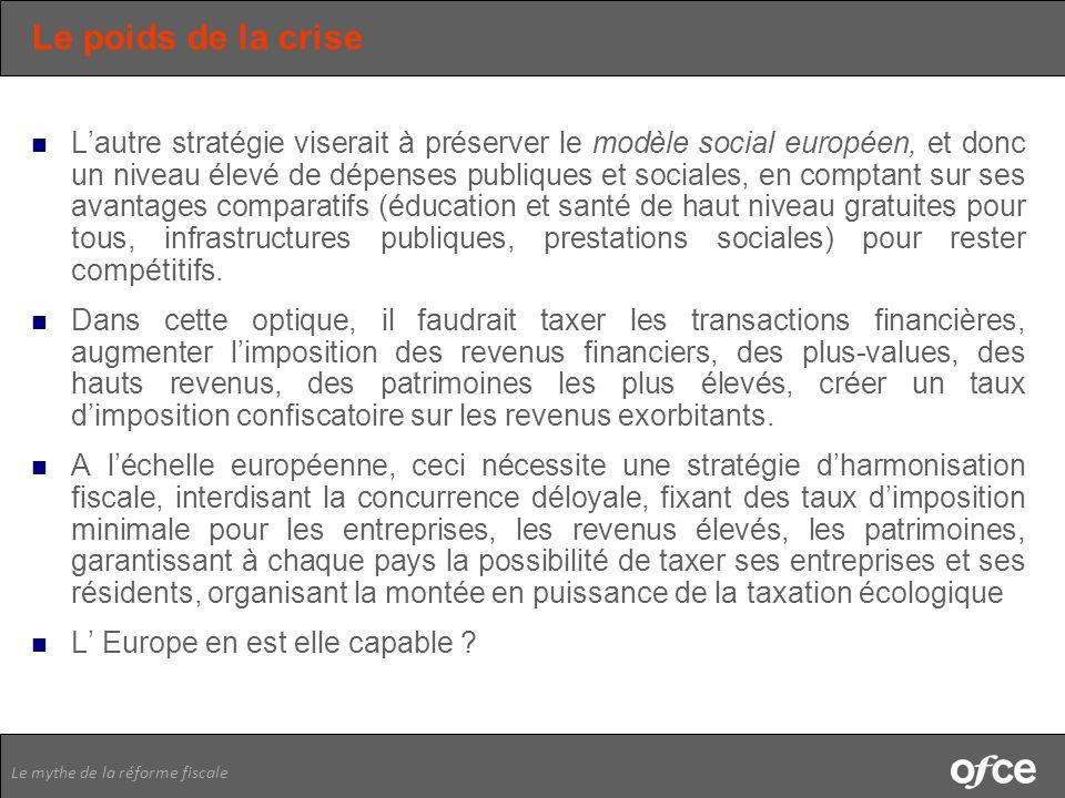 Le mythe de la réforme fiscale Le poids de la crise Lautre stratégie viserait à préserver le modèle social européen, et donc un niveau élevé de dépens