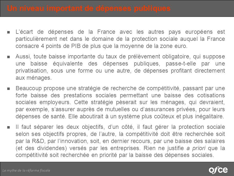 Le mythe de la réforme fiscale Un niveau important de dépenses publiques Lécart de dépenses de la France avec les autres pays européens est particuliè