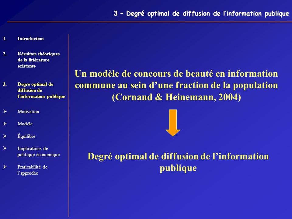 3 – Degré optimal de diffusion de linformation publique Un modèle de concours de beauté en information commune au sein dune fraction de la population