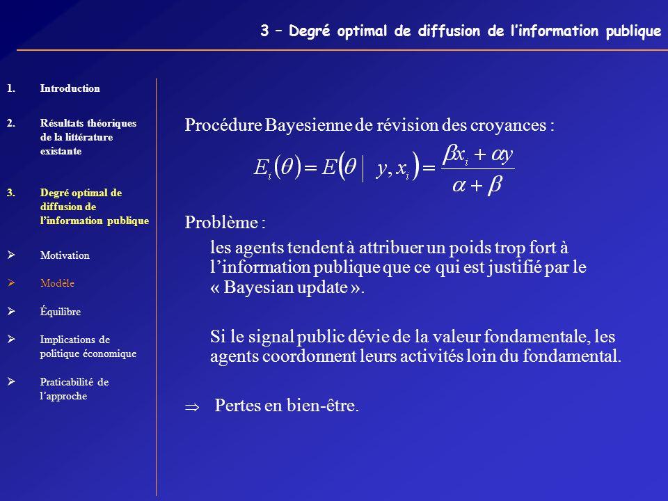 3 – Degré optimal de diffusion de linformation publique Procédure Bayesienne de révision des croyances : Problème : les agents tendent à attribuer un