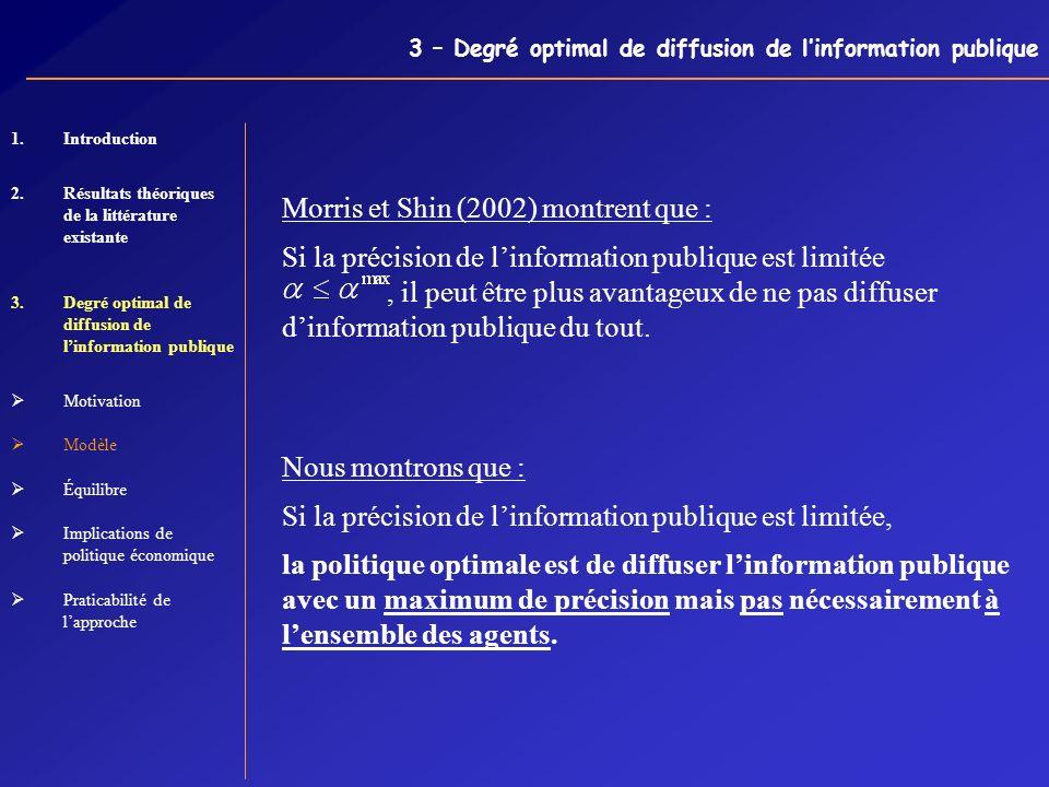 3 – Degré optimal de diffusion de linformation publique Morris et Shin (2002) montrent que : Si la précision de linformation publique est limitée, il