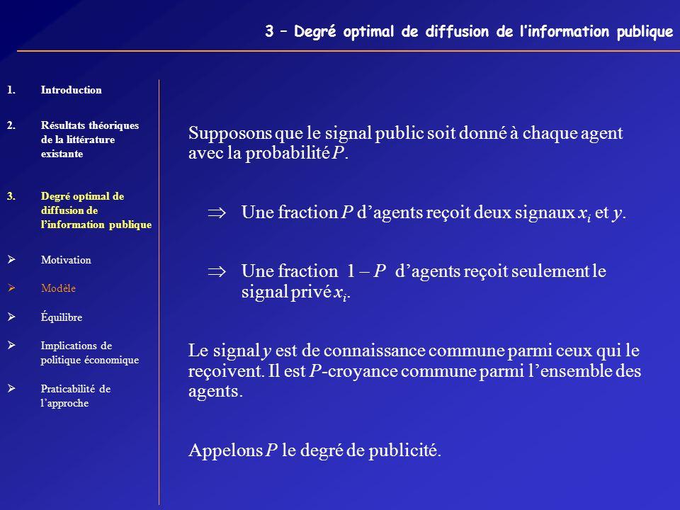 3 – Degré optimal de diffusion de linformation publique Supposons que le signal public soit donné à chaque agent avec la probabilité P. Une fraction P