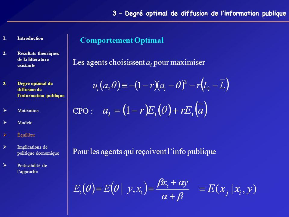 3 – Degré optimal de diffusion de linformation publique Les agents choisissent a i pour maximiser CPO : Pour les agents qui reçoivent linfo publique C