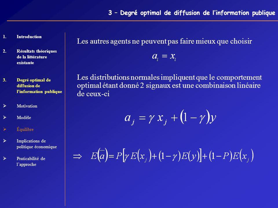 3 – Degré optimal de diffusion de linformation publique Les autres agents ne peuvent pas faire mieux que choisir Les distributions normales impliquent