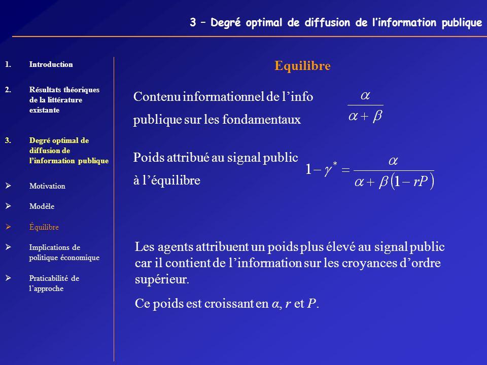 3 – Degré optimal de diffusion de linformation publique Equilibre Contenu informationnel de linfo publique sur les fondamentaux Poids attribué au sign