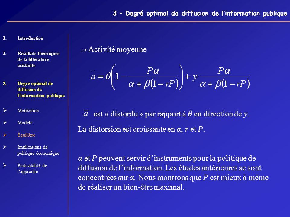 3 – Degré optimal de diffusion de linformation publique Activité moyenne est « distordu » par rapport à θ en direction de y. La distorsion est croissa