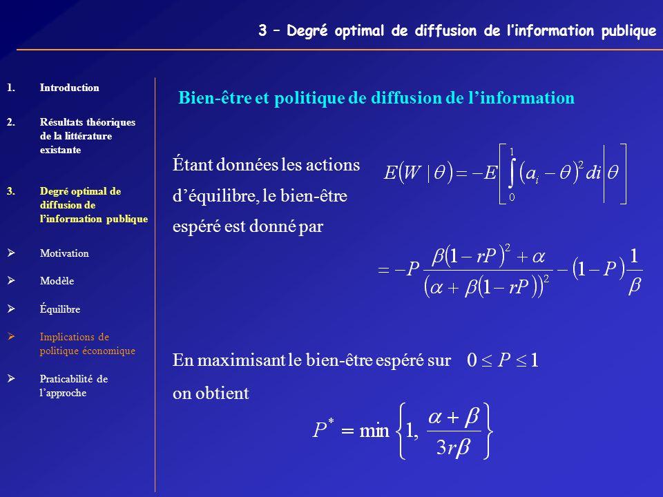 3 – Degré optimal de diffusion de linformation publique Bien-être et politique de diffusion de linformation Étant données les actions déquilibre, le b