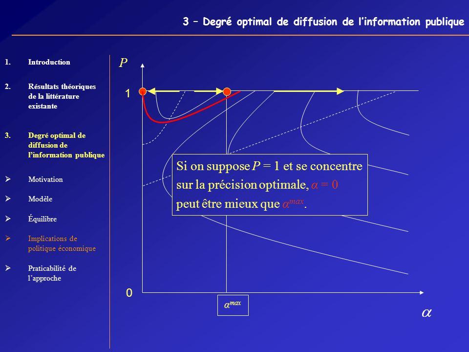 3 – Degré optimal de diffusion de linformation publique α max P 0 1 Si on suppose P = 1 et se concentre sur la précision optimale, α = 0 peut être mie