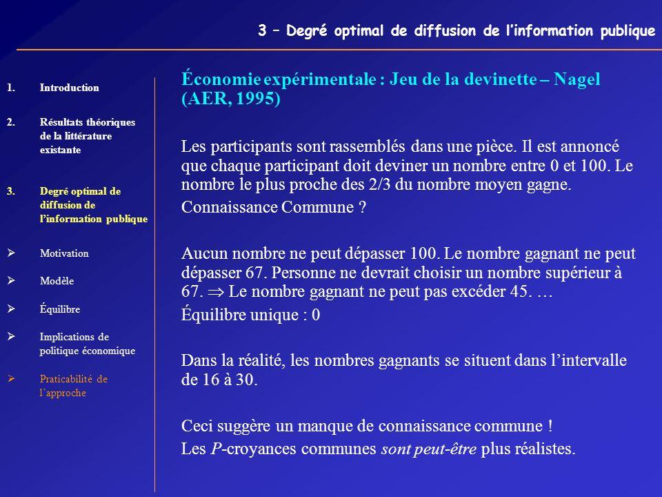 3 – Degré optimal de diffusion de linformation publique Économie expérimentale : Jeu de la devinette – Nagel (AER, 1995) Les participants sont rassemb