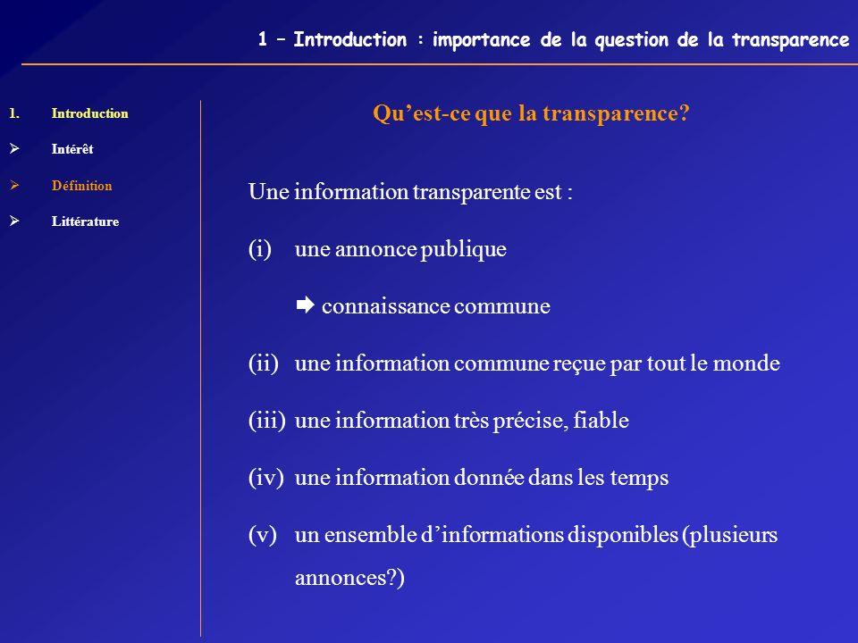 1 – Introduction : importance de la question de la transparence 1.Introduction Intérêt Définition Littérature Quest-ce que la transparence? Une inform