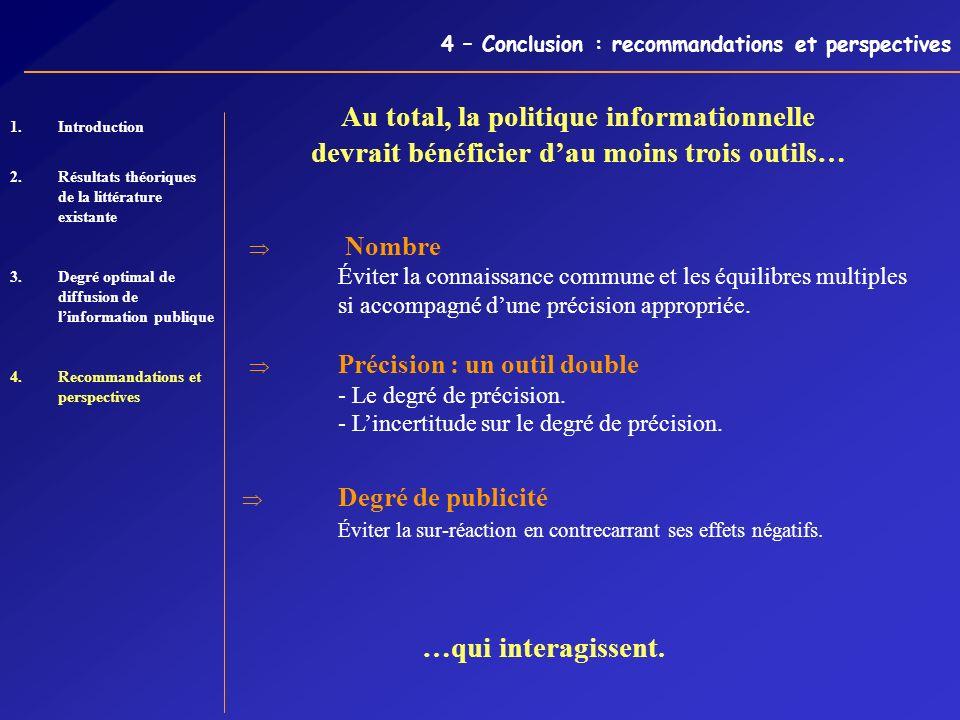 4 – Conclusion : recommandations et perspectives 1. 1.Introduction 2.Résultats théoriques de la littérature existante 3.Degré optimal de diffusion de