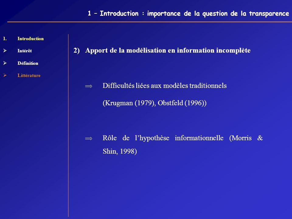 1 – Introduction : importance de la question de la transparence 1.Introduction Intérêt Définition Littérature 2) Apport de la modélisation en informat