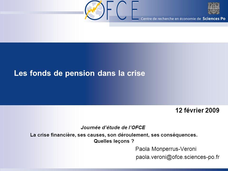 Les fonds de pension dans la crise 12 février 2009 Journée détude de lOFCE La crise financière, ses causes, son déroulement, ses conséquences.