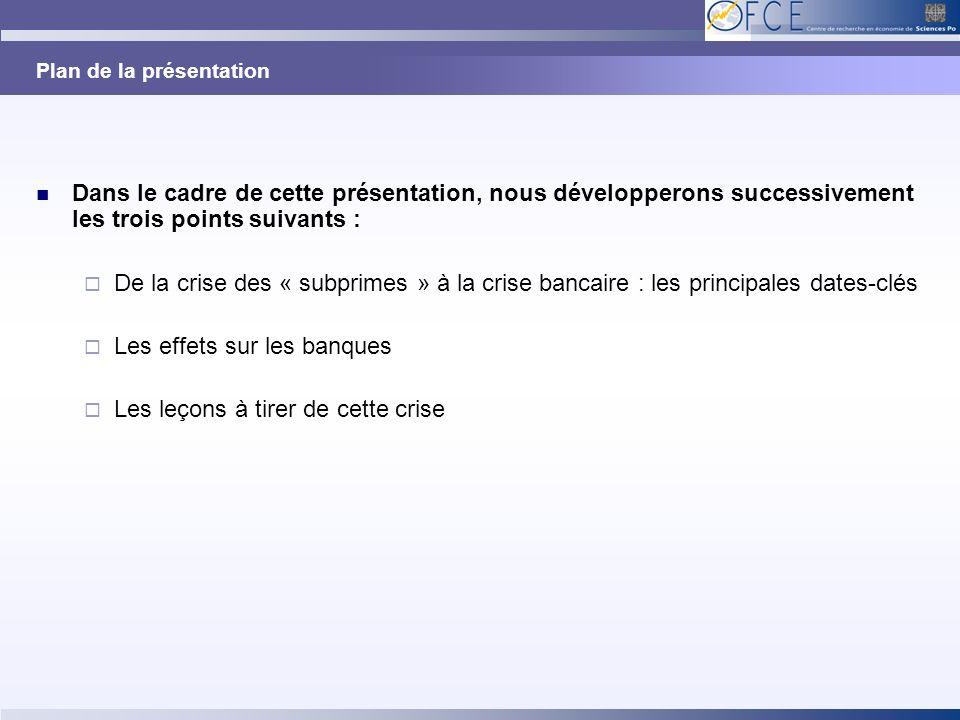 Plan de la présentation Dans le cadre de cette présentation, nous développerons successivement les trois points suivants : De la crise des « subprimes