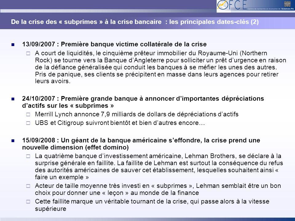 De la crise des « subprimes » à la crise bancaire : les principales dates-clés (2) 13/09/2007 : Première banque victime collatérale de la crise A cour