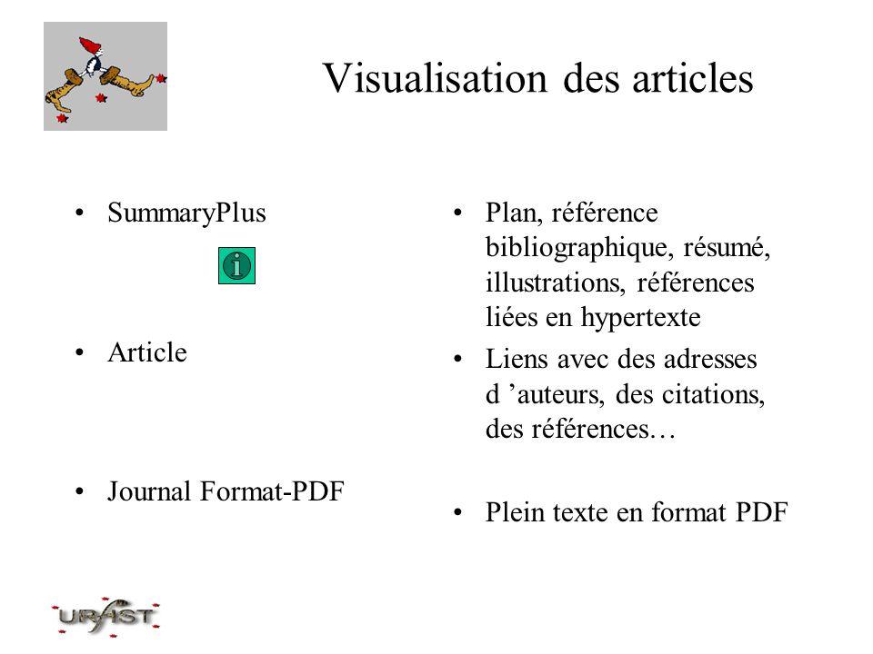 Visualisation des articles SummaryPlus Article Journal Format-PDF Plan, référence bibliographique, résumé, illustrations, références liées en hypertex