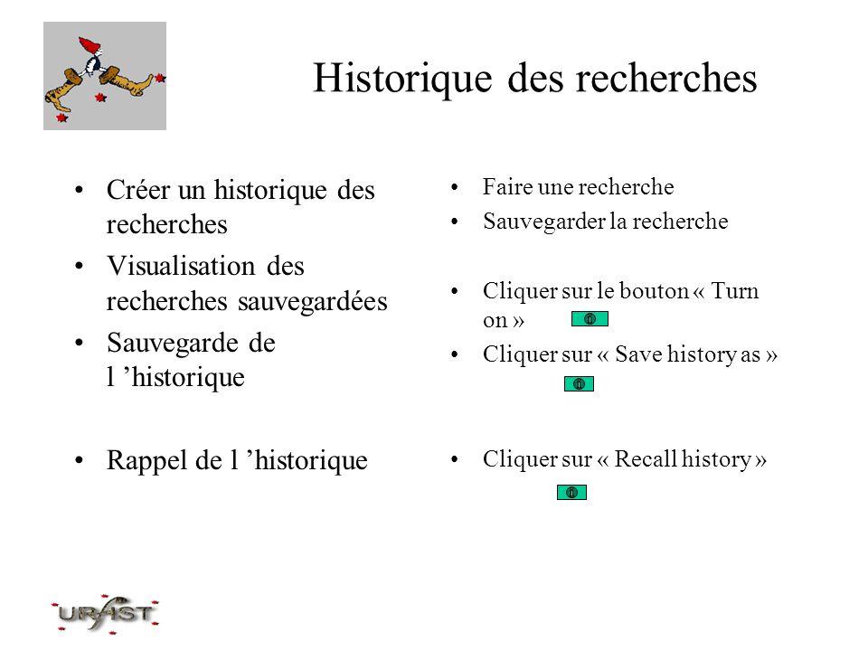 Historique des recherches Créer un historique des recherches Visualisation des recherches sauvegardées Sauvegarde de l historique Rappel de l historiq
