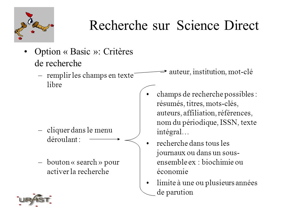 Recherche sur Science Direct Option « Advanced »: Critères de recherche –critères de recherche identiques : –différence : –bouton « search » pour activer la recherche mêmes champs de recherche possibilité d élaborer une équation de recherche complexe ex : (nutrition or food) and human