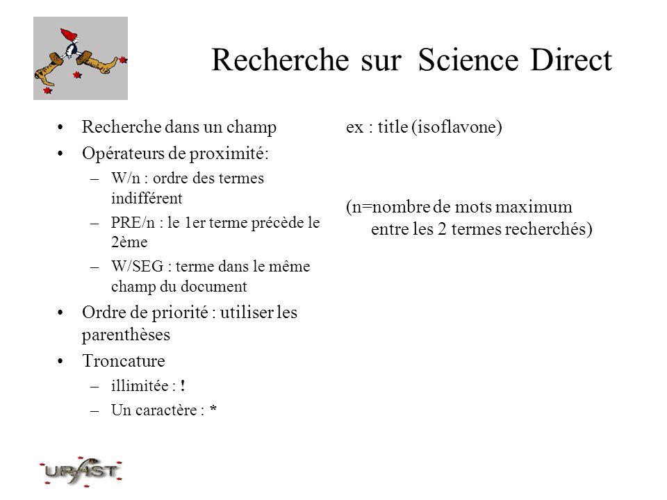 Recherche sur Science Direct Recherche dans un champ Opérateurs de proximité: –W/n : ordre des termes indifférent –PRE/n : le 1er terme précède le 2èm