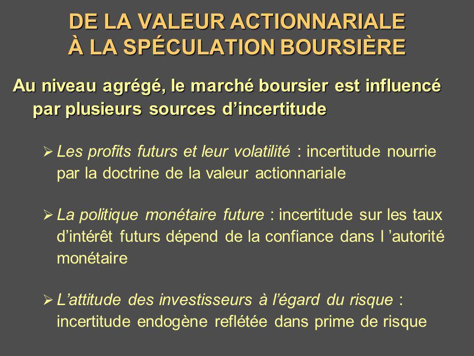 DE LA VALEUR ACTIONNARIALE À LA SPÉCULATION BOURSIÈRE Au niveau agrégé, le marché boursier est influencé par plusieurs sources dincertitude Les profit