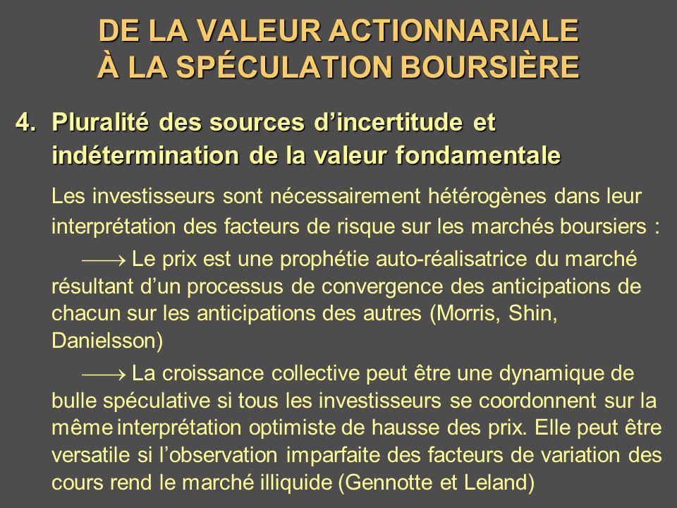 DE LA VALEUR ACTIONNARIALE À LA SPÉCULATION BOURSIÈRE 4.Pluralité des sources dincertitude et indétermination de la valeur fondamentale Les investisse