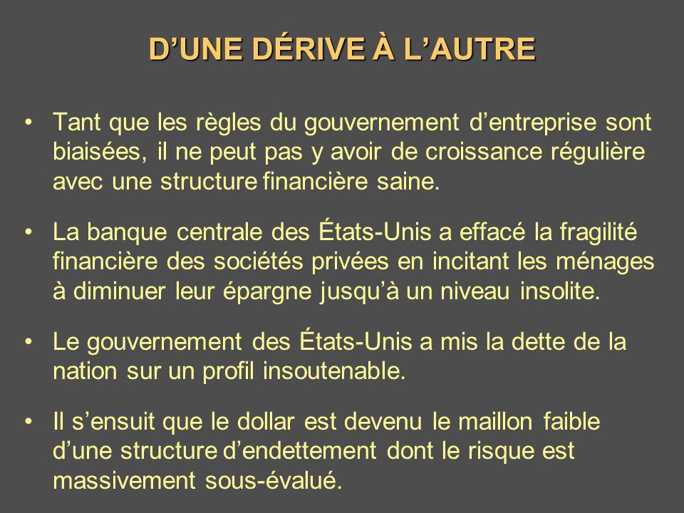DUNE DÉRIVE À LAUTRE Tant que les règles du gouvernement dentreprise sont biaisées, il ne peut pas y avoir de croissance régulière avec une structure
