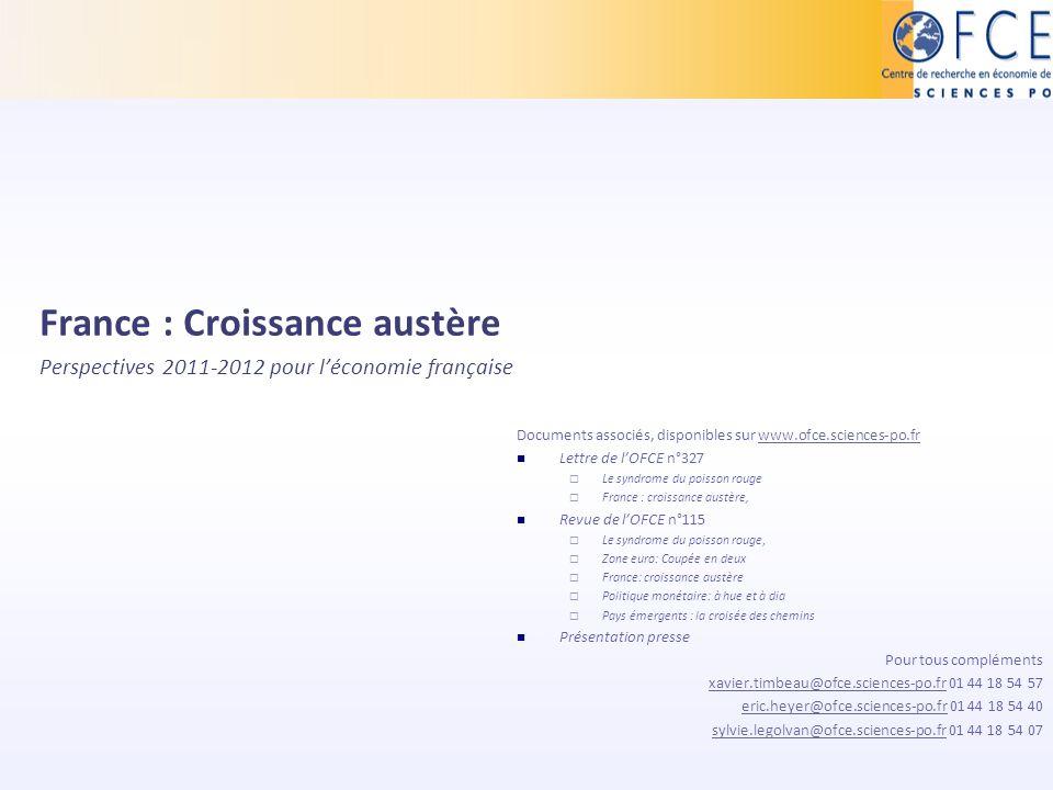 France : Croissance austère Perspectives 2011-2012 pour léconomie française Documents associés, disponibles sur www.ofce.sciences-po.frwww.ofce.scienc