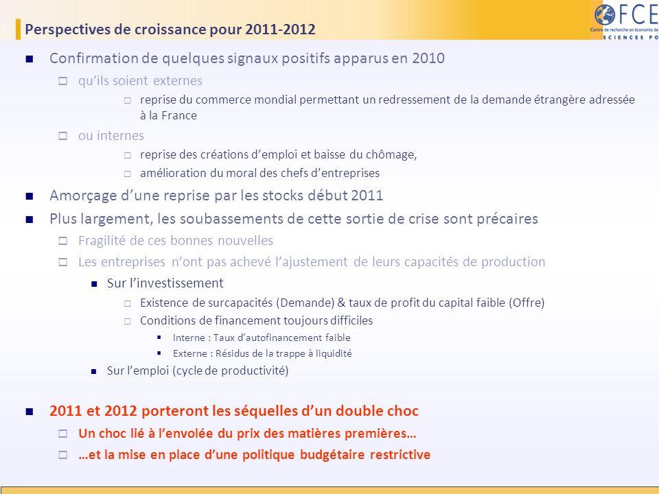 Perspectives de croissance pour 2011-2012 Confirmation de quelques signaux positifs apparus en 2010 quils soient externes reprise du commerce mondial