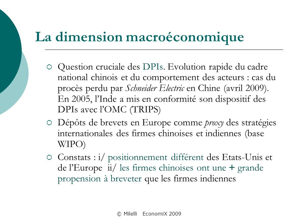 © Milelli EconomiX 2009 La dimension macroéconomique Question cruciale des DPIs.