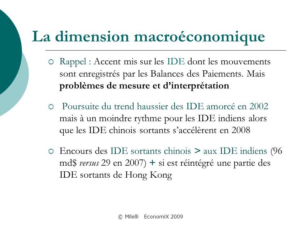 © Milelli EconomiX 2009 La dimension macroéconomique Rappel : Accent mis sur les IDE dont les mouvements sont enregistrés par les Balances des Paiements.