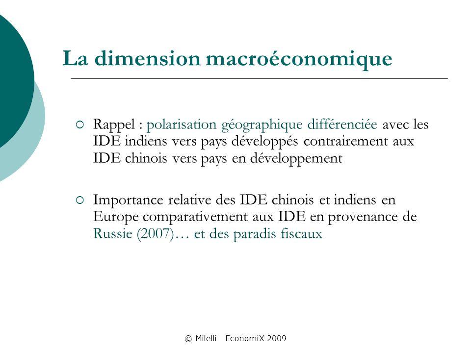 © Milelli EconomiX 2009 La dimension macroéconomique Rappel : polarisation géographique différenciée avec les IDE indiens vers pays développés contrairement aux IDE chinois vers pays en développement Importance relative des IDE chinois et indiens en Europe comparativement aux IDE en provenance de Russie (2007)… et des paradis fiscaux