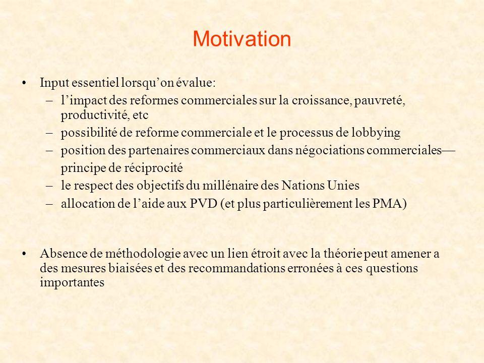 Motivation Input essentiel lorsquon évalue: –limpact des reformes commerciales sur la croissance, pauvreté, productivité, etc –possibilité de reforme
